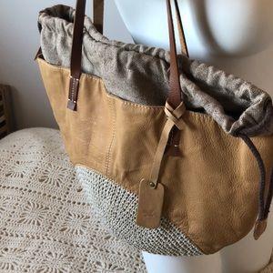 Boho Tan vegan leather and woven tote bag